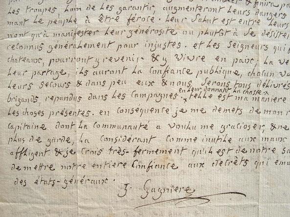 Très belle lettre de l'adversaire de Rousseau, Joachim Gagnière..