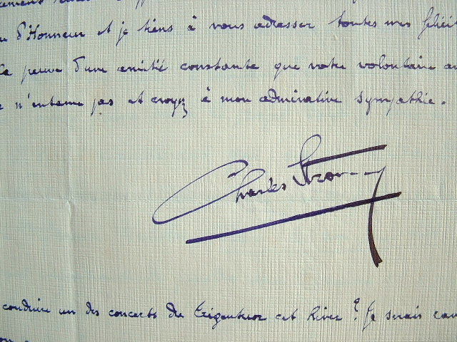 Correspondance du chef d'orchestre lyonnais, Charles Strony..