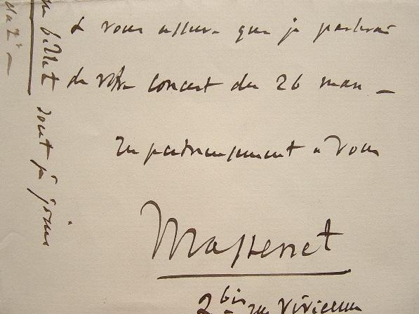 Jules Massenet fait la promotion d'un concert.. Jules Massenet (1842-1912) Compositeur français.