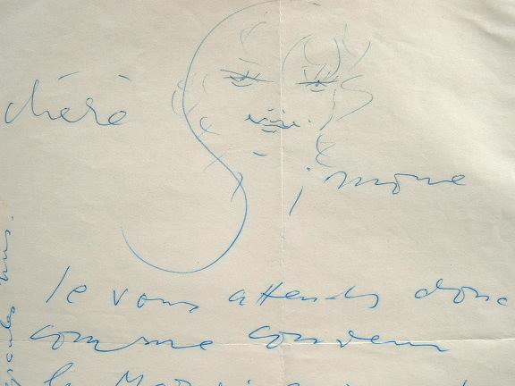 Lettre illustrée de Vertès.. Marcel Vertès (1895-1961) Peintre, graveur et illustrateur.
