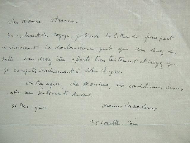 Les condoléances de Marius Casadesus.. Marius Casadesus (1892-1981) Violoniste et compositeur, co-fondateur de la Société des instruments anciens. En ...