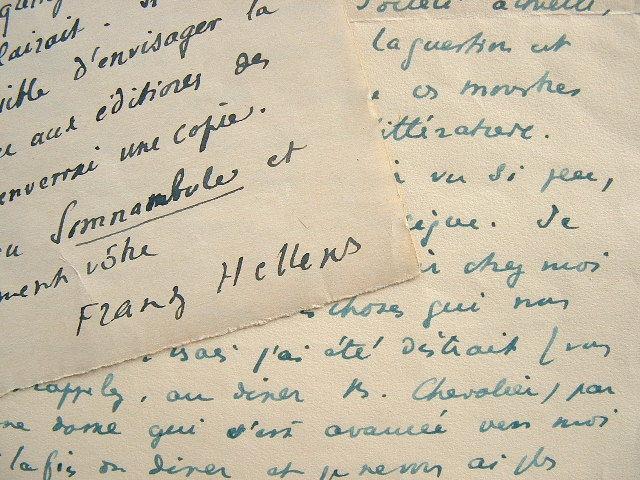 Franz Hellens loue la poésie de Breton, Aragon, Eluard et Tzara.. Franz Hellens (1881-1972) Romancier, poète et essayiste belge, il est l'un des ...