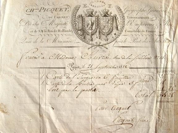 Vente de cartes par le géographe de l'Empereur, Charles Picquet.. Charles Picquet (1771-1827) Géographe ordinaire de Napoléon puis de Louis XVIII et ...