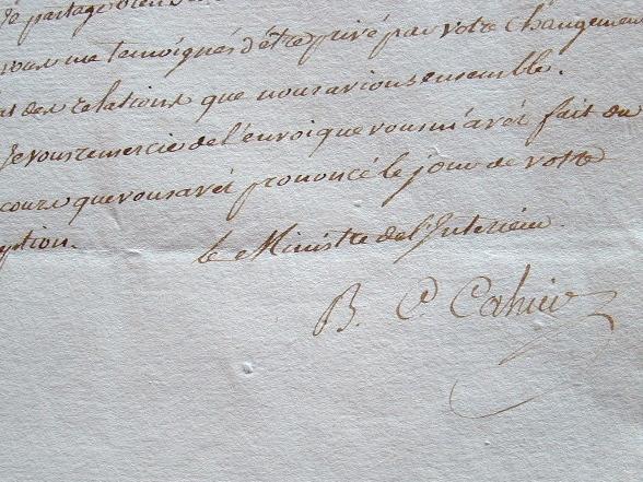 Le ministre de l'Intérieur, Cahier de Gerville, approuve une nomination.. Bon Claude Cahier de Gerville (1751-1796) Ministre de l'Intérieur (nov. 1791 ...