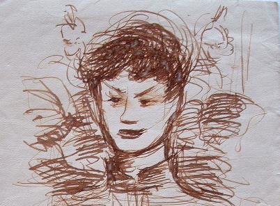 Portrait à la plume de Dimitri Berea.. Dimitri Berea (1908-1975) Portraitiste roumain.