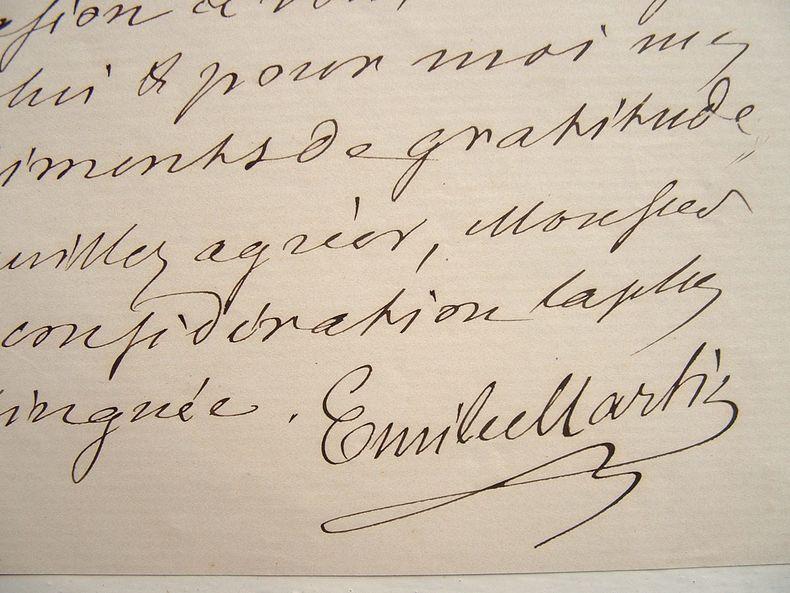 Lettre du métallurgiste Emile Martin.. Emile Martin (1824-1915) Ingénieur, il travaille avec son père aux forges de Fourchambault (Nièvre) qui ...