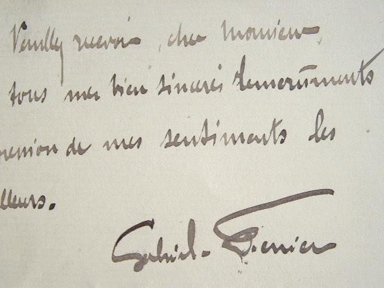Lettre du peintre Gabriel Ferrier.. Gabriel Ferrier (1847-1914) Peintre, prix de Rome (1872).