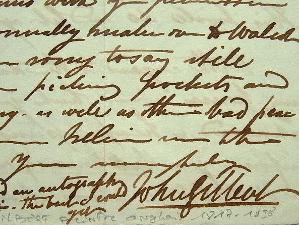 Lettre du peintre anglais John Gilbert.. John Gilbert (1817-1897) Peintre, dessinateur et illustrateur anglais.