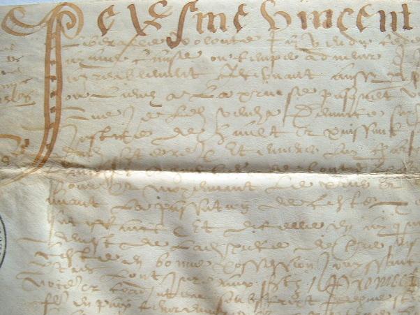 Vente d'une pièce de terre à Sainte-Reine (Haute-Saône) en 1581..