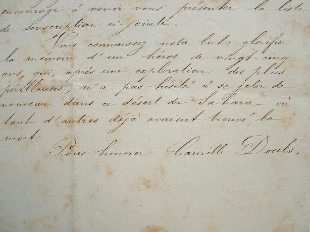 Souscription pour un monument à la mémoire de l'explorateur Camille Douls..