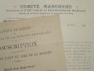 Deux souscriptions à la gloire du commandant Marchand.. Jean-Baptiste Marchand (1863-1934) Explorateur et général, héros de Fachoda.