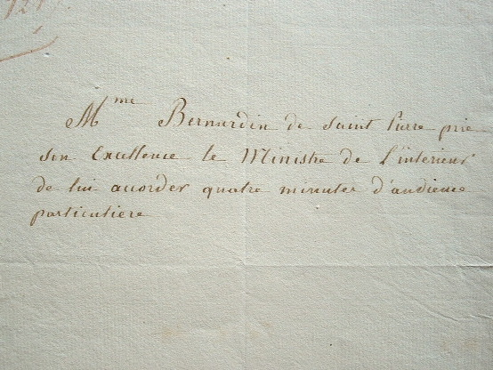 La veuve de Bernardin de Saint-Pierre demande audience..
