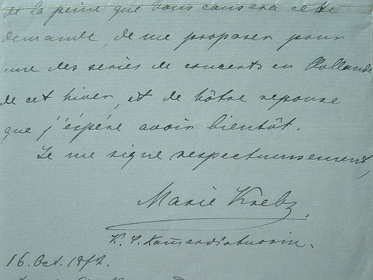 La pianiste allemande Marie Krebs revient de sa tournée aux Etats-Unis.. Marie Krebs (1851-1900) Pianiste allemande, elle accompagna Henri Vieuxtemps ...