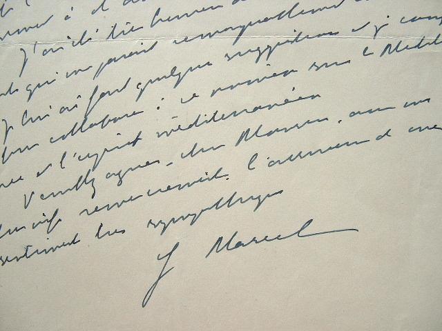Lettre du philosophe Gabriel Marcel.. Gabriel Marcel (1889-1973) Philosophe, figure de l'existentialisme chrétien.