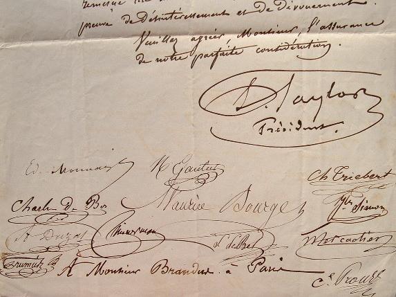 L'association des artistes musiciens reçoit la partition du Prophète de Meyerbeer.. Isidore Taylor (baron) (1789-1879) Philanthrope et littérateur ...