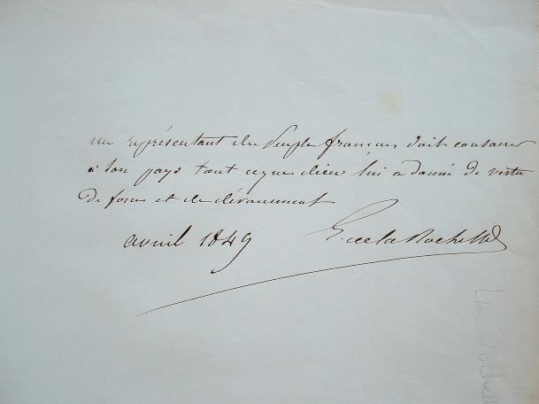 Ernest de La Rochette donne sa devise politique.. Ernest La Rochette (Poictevin de) (1804-1876) Député royaliste de Loire-Inférieure à la Constituante ...