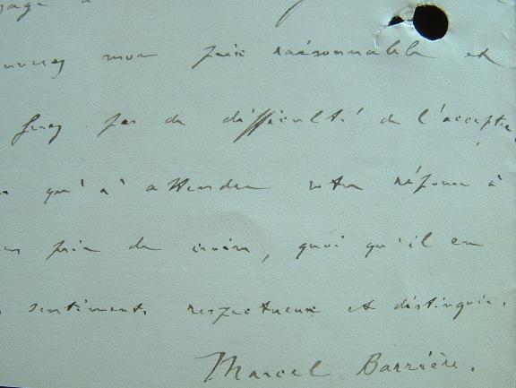 Marcel Barrière favorable à une traduction.. Marcel Marie André Barrière (1859-1954) Homme de lettres, auteur, notamment, de deux trilogies, ...