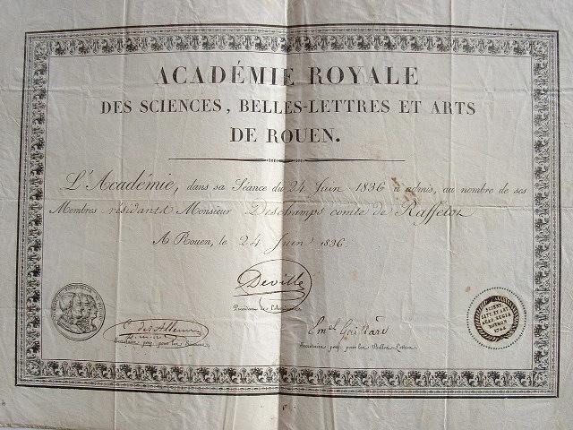 Diplôme de l'Ac. des sciences, belles-lettres et arts de Rouen..