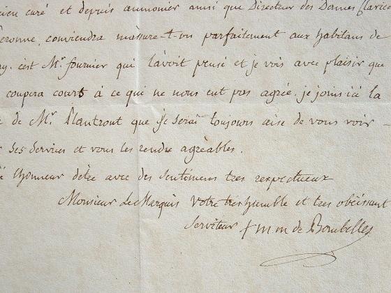 L'évêque d'Amiens nomme un curé à Bray.. Marc Marie Bombelles (de) (1744-1822) D'abord diplomate, ambassadeur du Portugal, il se marie avec une dame ...
