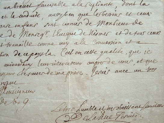 Le père de La Rüe garant de la conversion d'une famille calviniste de Nîmes.. Charles La Rue (de) (1643-1725) Ecrivain, prédicateur, jésuite, auteur ...