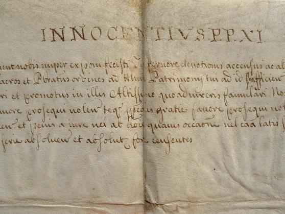 Bref du pape Innocent XI pour un clerc suisse..
