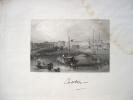 Gravure du port de Canton en Chine (1845)..
