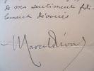 Marcel Prévost écrit à Edouard Herriot.. Marcel Prévost (1862-1941) Romancier. Membre de l'Académie française (1909).