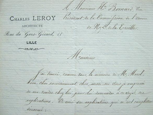 L'architecte Charles Leroy et l'ornementation de Notre-Dame de La Treille de Lille.. Charles Leroy (1816-1879) Architecte néogothique lillois ; il ...