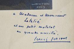 Beau portrait dédicacé de Louis Jouvet.. Louis Jouvet (1887-1951) Acteur de théâtre et de cinéma.