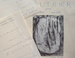 Jean Fautrier finalise la maquette d'un recueil.. Jean Fautrier (1898-1964) Peintre expressionniste, puis abstrait-informel.
