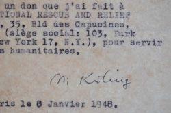 Kisling offre une toile à une association humanitaire américaine.. Moïse Kisling (1891-1953) Peintre.