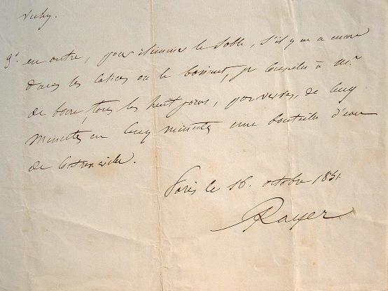 De l'eau de Contrexéville et de Vichy prescrites par le Dr Rayer.. Pierre François Rayer (1793-1867) Médecin consultant de Louis-Philippe, médecin ...