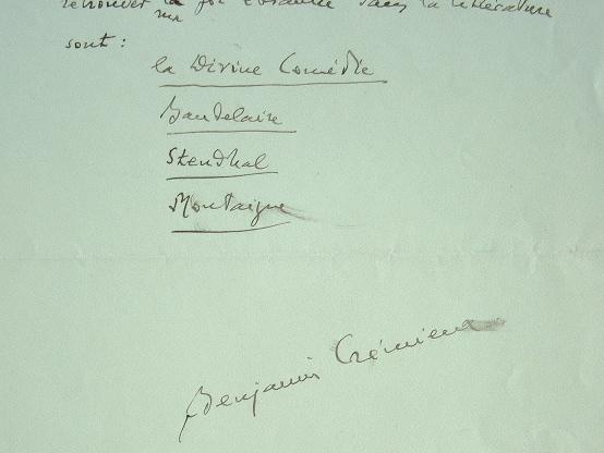 Benjamin Crémieux se ressource avec Baudelaire et Stendhal.. Benjamin Crémieux (1888-1944) Ecrivain et critique littéraire, résistant, il est déporté ...
