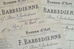 Factures de Barbedienne pour un bronze de Raoul Verlet..