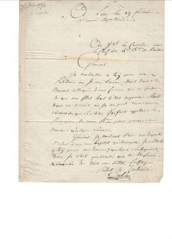 Un officier de l'armée de Sambre-et-Meuse appelle Lecourbe au secours..