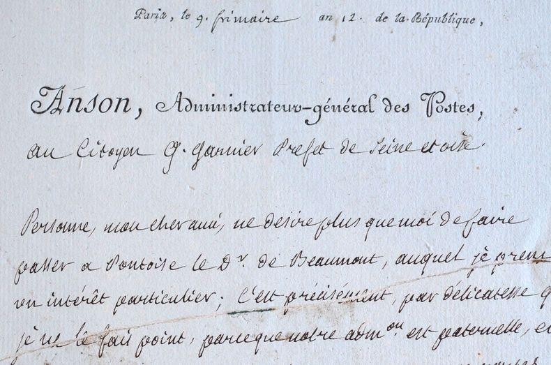 L'administrateur des Postes accepte une requête du préfet de Seine-et-Oise.. Pierre-Hubert Anson (1744-1810) Député du Tiers Etat, économiste et ...