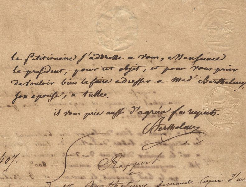 Le général Berthelmy loue un bâtiment pour l'entrepôt des tabacs à Tulle.. Etienne Ambroise Berthelmy (1764-1841) Général d'Empire, député de la ...