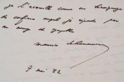 Message de sympathie de Maurice Schumann.. Maurice Schumann (1911-1998) Ministre des Affaires étrangères (1969-1973), compagnon de la Libération, ...