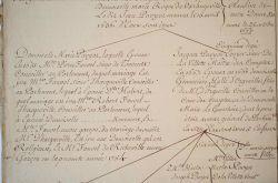 Grand arbre généalogique XVIIIe de la famille Pavyot..