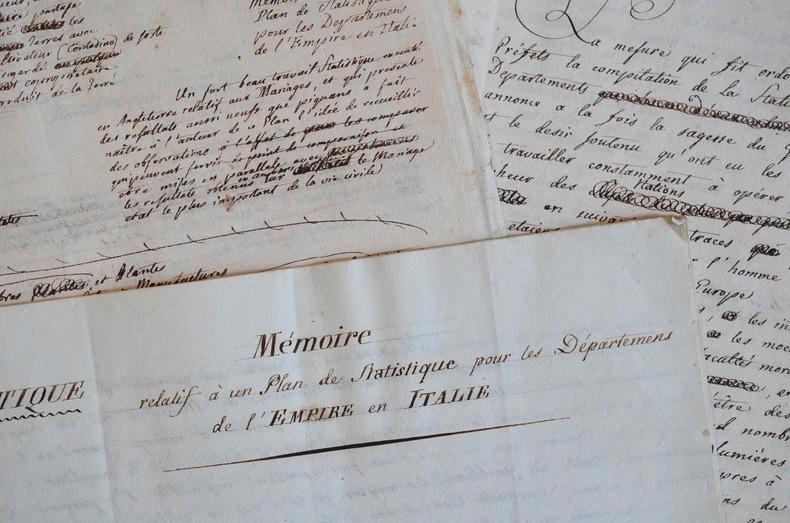 Etude statistique originale sur les départements de l'Empire en Italie.. Giovanni Baillou (de) (1758-1819) Géographe italien, correspondant de ...