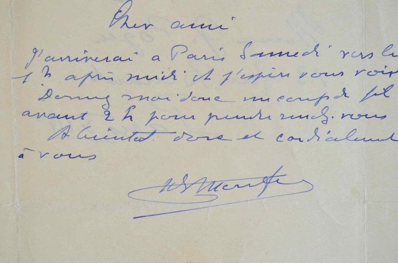 Henry de Monfreid fixe un rendez-vous.. Henry Monfreid (de) (1879-1974) Ecrivain et aventurier.