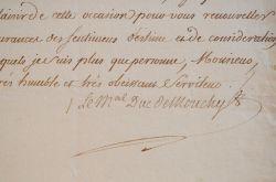 Du vin pour le maréchal de Mouchy.. Philippe Mouchy (de Noailles, duc de) (1715-1794) Maréchal de France, arrêté en 1793, il est condamné à mort par ...