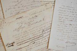 Manuscrit de la préface de Suffrage Universel d'Eugène Delattre.. Eugène Delattre (1830-1898) Magistrat et député d'extrême-gauche, ami de Clemenceau ...
