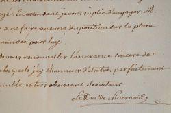 Le duc de Nivernais intervient auprès du Prince de Montbarrey.. Louis Jules Mancini Mazarini, duc de Nivernais (1716-1798) Homme de lettres et ...