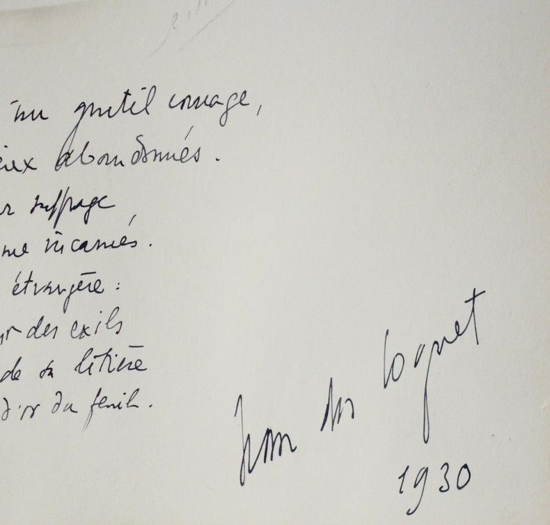 Photo dédicacée d'un poème du poète breton Jean Des Cognet.. Jean Des Cognet (1883-1961) Poète, écrivain et journaliste breton.