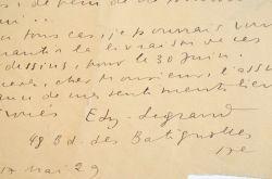 Lettre d'Edy Legrand à Jacques Chardonne sur un travail d'illustration.. Edy Legrand (1892-1970) Peintre orientaliste français, spécialisé dans ...