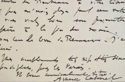 Carte d'Albéric Cahuet à Jacques Chardonne.. Albéric Cahuet (1877-1942) Journaliste à L'Illustration et écrivain. Il s'inspire de l'Histoire pour ...