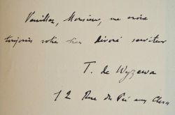 Théodore de Wyzewa consacre une étude à Joris-Karl Huysmans.. Théodore Wyzewa (de) (1862-1917) Musicologue, critique, écrivain et traducteur, il est ...