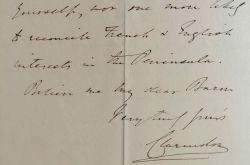 Lord Clarendon s'adresse au Baron de Billing.. George William Frederick Clarendon (comte de) Villiers (1800-1870) Diplomate, ministre plénipotentiaire ...