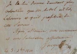 Vauquelin demande la permission de disséquer à l'école pratique.. Nicolas Louis Vauquelin (1763-1829) Chimiste, découvreur du chrome.